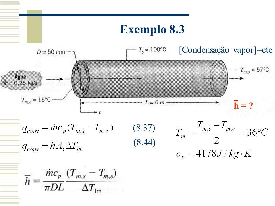 Exemplo 8.3 [Condensação vapor]=cte h = (8.37) (8.44)